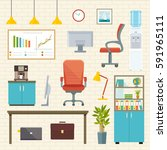 business workplace icons set... | Shutterstock .eps vector #591965111