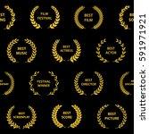 gold film award wreaths....   Shutterstock .eps vector #591971921