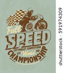motorcycle racing typography  t ... | Shutterstock .eps vector #591974309