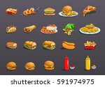 fastfood icons set. art  icon... | Shutterstock .eps vector #591974975