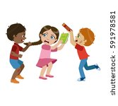 two boys bullying a girl  part... | Shutterstock .eps vector #591978581