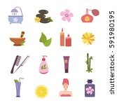 spa icons vector set isolated...   Shutterstock .eps vector #591980195