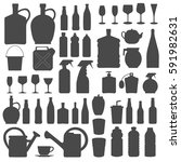 beverage  bottle  and glass... | Shutterstock .eps vector #591982631