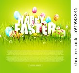 cute easter template with... | Shutterstock .eps vector #591983345