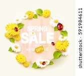 spring sale flyer with flowers... | Shutterstock .eps vector #591984611