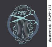 barber shop logo templates.... | Shutterstock .eps vector #591994145