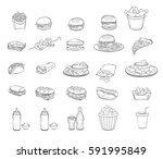 fastfood with contour | Shutterstock .eps vector #591995849