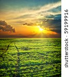 last sunrays over green field with path - stock photo