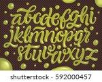 homemade pistachio ice cream... | Shutterstock .eps vector #592000457