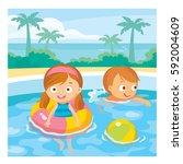 children swimming in aqua park | Shutterstock .eps vector #592004609