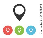 map pointer vector icon  pin... | Shutterstock .eps vector #592008491