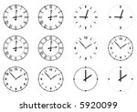 set of vector clock faces and... | Shutterstock .eps vector #5920099