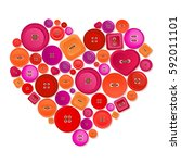 heart made of colorful buttons | Shutterstock . vector #592011101