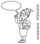 coloring picture of funny... | Shutterstock .eps vector #592013234
