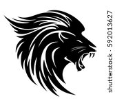 lion head side view tribal... | Shutterstock .eps vector #592013627
