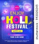 holi festival poster design.... | Shutterstock .eps vector #592020245