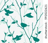 seamless pattern with birds and ... | Shutterstock .eps vector #592022621