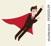 businessman flying. superhero... | Shutterstock .eps vector #592033139