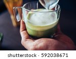making of japanese drink matcha ... | Shutterstock . vector #592038671
