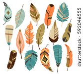 set of vector feathers | Shutterstock .eps vector #592046555