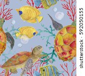 watercolor painting... | Shutterstock . vector #592050155