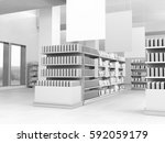 set of shelves with cans and... | Shutterstock . vector #592059179