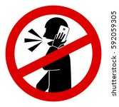 no talking cell phone sign... | Shutterstock .eps vector #592059305