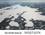Great Slave Lake Yellowknife canada  Ice  Road Aerial photography