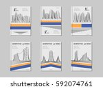 architecture cover design set.... | Shutterstock .eps vector #592074761