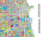 chicago  usa  colorful vector... | Shutterstock .eps vector #592075295