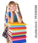 schoolgirl with backpack... | Shutterstock . vector #59208388