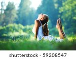 yoga woman on green park | Shutterstock . vector #59208547