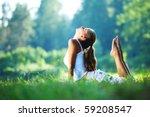 yoga woman on green park | Shutterstock . vector #59208547
