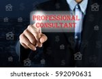 business man pointing hand on... | Shutterstock . vector #592090631