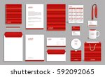 business stationery set... | Shutterstock .eps vector #592092065
