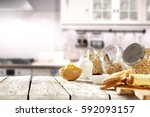 spring breakfast with... | Shutterstock . vector #592093157