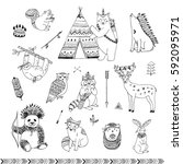 tribal animals forest vector set | Shutterstock .eps vector #592095971