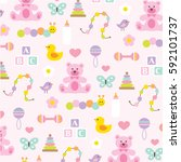 baby girl pattern on pink | Shutterstock .eps vector #592101737