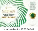 template of certificate of... | Shutterstock .eps vector #592106549