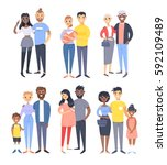 set of different couples and... | Shutterstock .eps vector #592109489