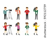 set of cameraman and... | Shutterstock .eps vector #592112759