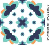 blue orange flora pattern... | Shutterstock .eps vector #592115579
