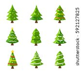christmas tree illustration.... | Shutterstock .eps vector #592127825