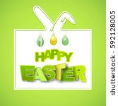 happy easter background with... | Shutterstock .eps vector #592128005