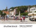 hvar  croatia   circa august... | Shutterstock . vector #592129997