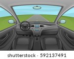 car inside | Shutterstock .eps vector #592137491