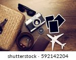 retro camera with empty old... | Shutterstock . vector #592142204