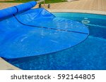 swimming pool with cover from... | Shutterstock . vector #592144805