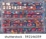 container container ship in... | Shutterstock . vector #592146359