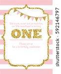 birthday card invitation is... | Shutterstock .eps vector #592146797